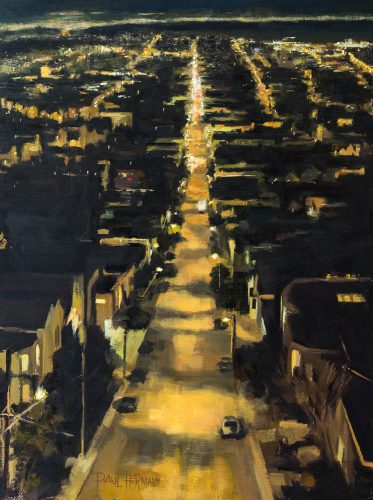 Down 24th Street. Oil on canvas, 16 x 12 inches, 2015.