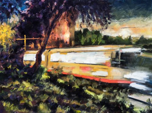 Muni thru Dolores Park. Oil on canvas, 9 x 12 inches, 2015.