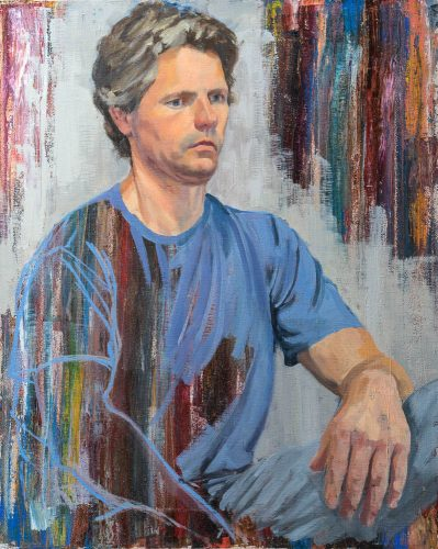 Portrait Study with Blue Shirt. Oil on canvas, 20 x 16 inches, 2015.