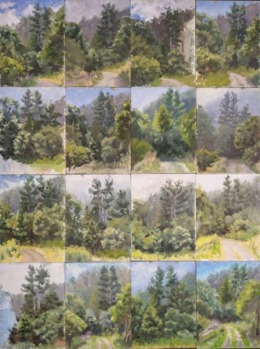 Collection of Plein Air paintings. Oil on canvas, 40 x 32 inches, 2013-2015.