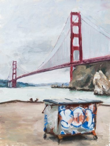Golden Gate with Garbage Bin. Oil on canvas, 12 x 9 inches, Summer 2015.