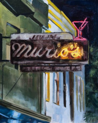 Murio's bar on Haight Street. Oil on canvas, 10 x 8 inches, Summer 2015.