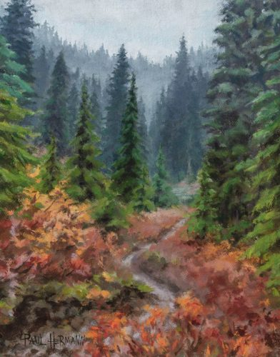 Pacific Coast Trail in Washington. Oil on canvas, 10 x 8 inches, Fall 2015.