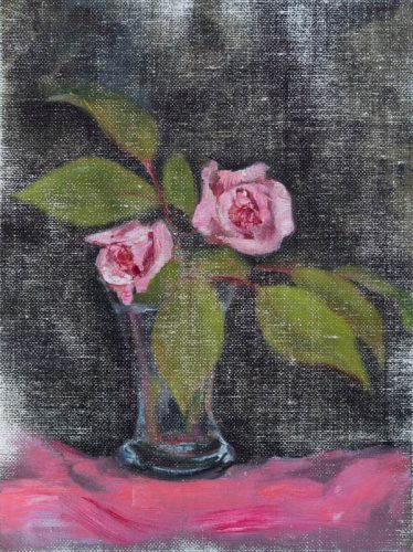 Small Pink Roses. Oil on canvas, 10 x 8 inches, Fall 2015.