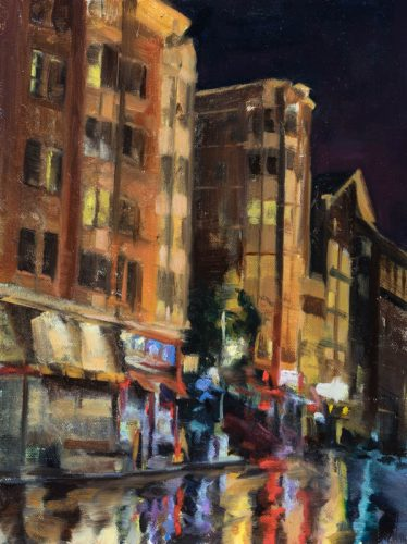 Wet night on Sutter at Taylor. Oil on canvas, 12 x 9 inches, Spring 2015.