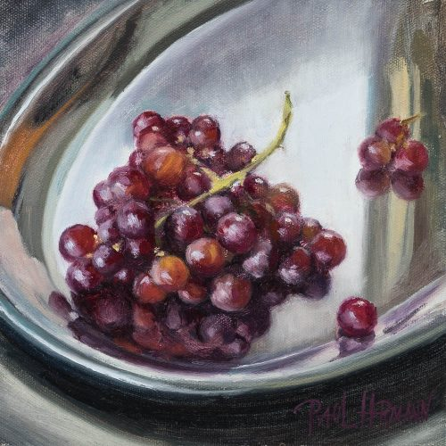 Grapes. Oil on canvas, 8 x 8 inches, 2016.