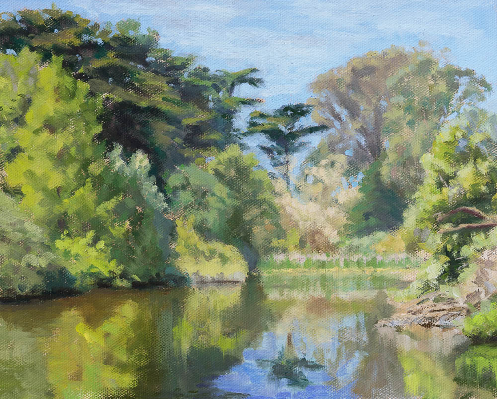Mallard Lake in Golden Gate Park. Oil on canvas, 8 x 10 inches, 2016.