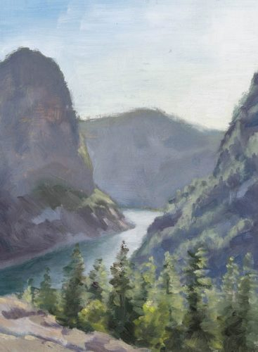 Hetch Hetchy during sunset (plein air). Oil on canvas, 8 x 6 inches, 2016.