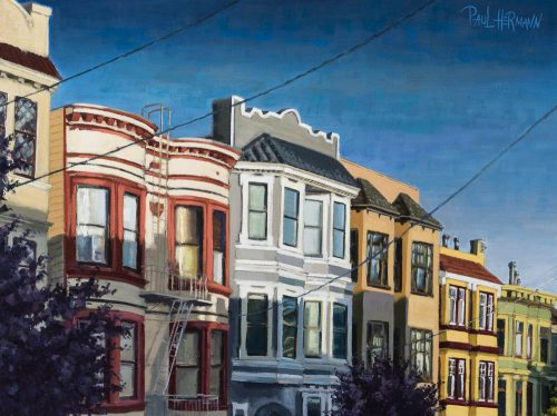 Pierce between Oak and Page. Oil on canvas, 18 x 24 inches, 2016.