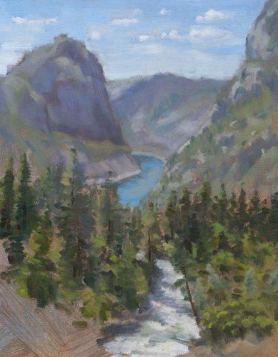 Rancheria Creek with Kolana Rock (plein air). Oil on canvas, 10 x 8 inches, 2016.