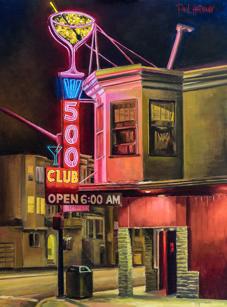 500 Club. Oil on canvas, 24 x 18 inches, 2016.