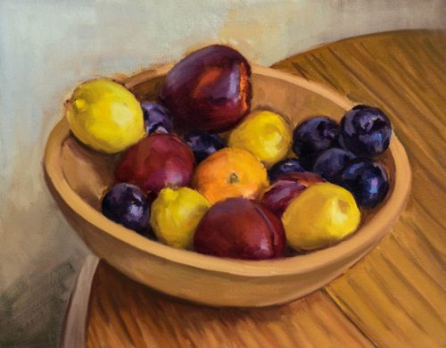 Fruit in Bowl study. Oil on canvas, 11 x 14 inches, 2016.