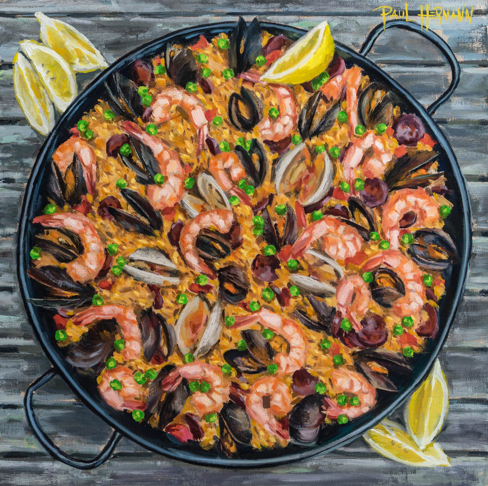 Paella. Oil on canvas, 16 x 16 inches, 2016.