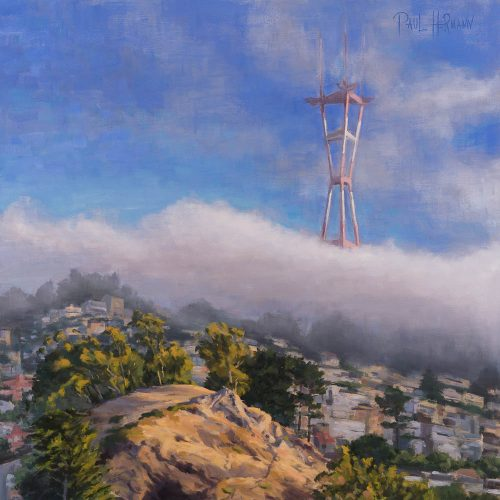 Tank Hill and Sutro Tower with Fog. Oil on canvas, 24 x 24 inches, 2016. By Paul Hermann