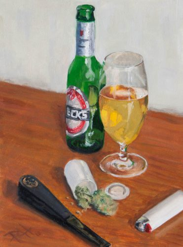 Beer And Weed. Oil on Masonite, 12×9. By Paul Hermann.
