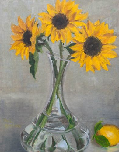 Sun Flowers in Decanter. Oil on canvas board, 18 x 14 inches, May 2011. By Paul Hermann.
