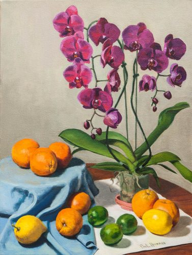 Orchid with Fruits. Oil on canvas, 24 x 18 inches, July 2011. By Paul Hermann.