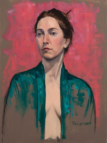 Rebecca in Green Robe. Oil on Canvas, 16 x 12 inches, December 2011. By Paul Hermann.