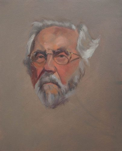 Portrait Sketch of Bob Gerbracht. Oil on canvas, 12 x10 inches, January 2012. By Paul Hermann.
