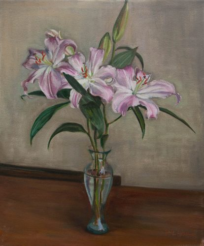 Oriental Lilies. Oil on canvas, 24 x 20 inches, February 2012. By Paul Hermann.