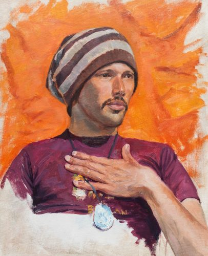 Randall in Orange. Oil on canvas board, 20 x 16 inches, April 2012. By Paul Hermann.