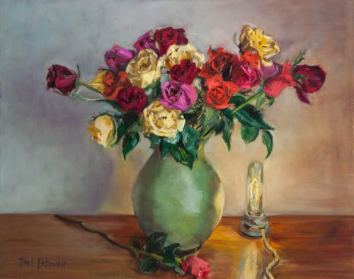 Roses with Light. Oil on Canvas, 16 x 20 inches, May 2012. By Paul Hermann.