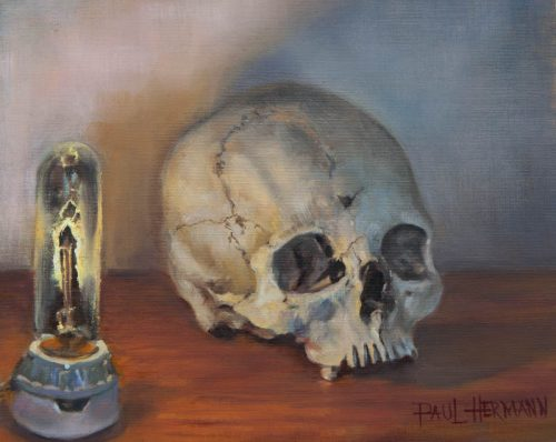 Skull and Light. Oil on canvas board, 8 x 10 inches, May 2012. By Paul Hermann.