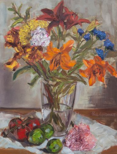 Flowers in Vase with Fruits and Vegetables. Oil on canvas, 16 x 12, June 2012.  By Paul Hermann.