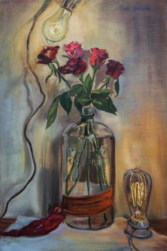 Roses in Bulleit with Light Bulbs. Oil on canvas, 24 x 16 inches, August 2012. By Paul Hermann.