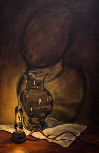 Vase with Bulb in the Dark. Oil on canvas, 24 x 16 inches, August 2012. By Paul Hermann.