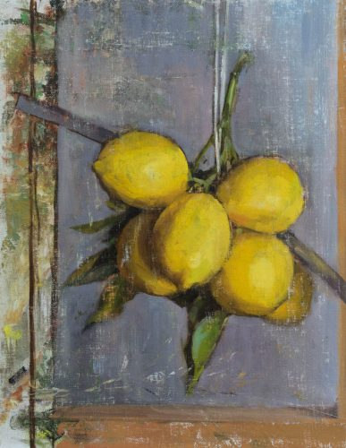 Lemons On Branch On Wall, Version2. Oil on canvas board, 14 x 11 inches, 2017. By Paul Hermann.
