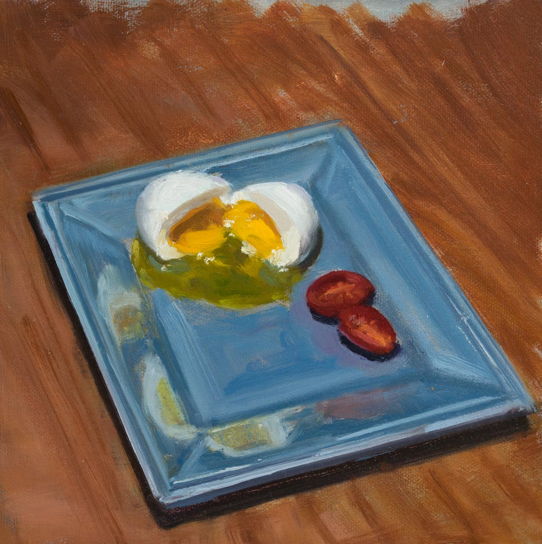 Blue Plate Special. Oil on canvas board, 8 x 8 inches, 2017. By Paul Hermann.