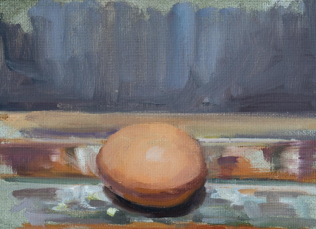 Egg On The Easel. Oil on Canvas Board, 5 x 7 inches, 2017. By Paul Hermann.