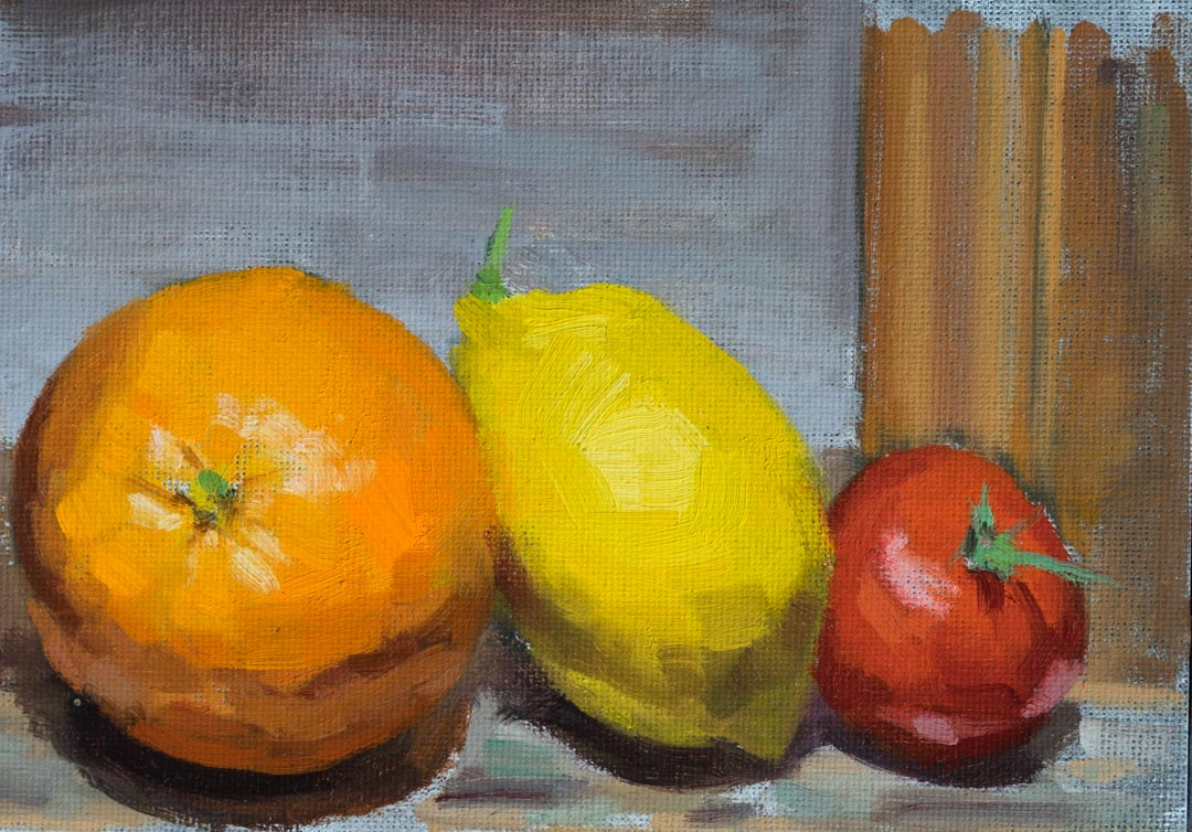 Fruits On The Easel at Night. Oil on canvas board, 5 x 7 inches, 2017. By Paul Hermann.