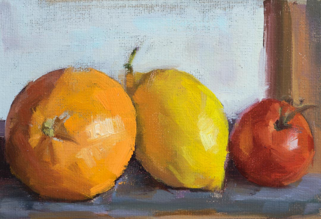 Fruits On The Easel by Day. Oil on canvas board, 5 x 7 inches, 2017. By Paul Hermann.