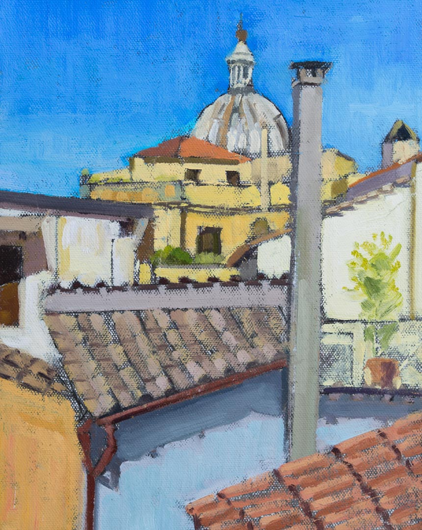 Rome Roof Top, Plein Air Study. Oil on canvas board, 10 x 8 inches, 2017. By Paul Hermann.