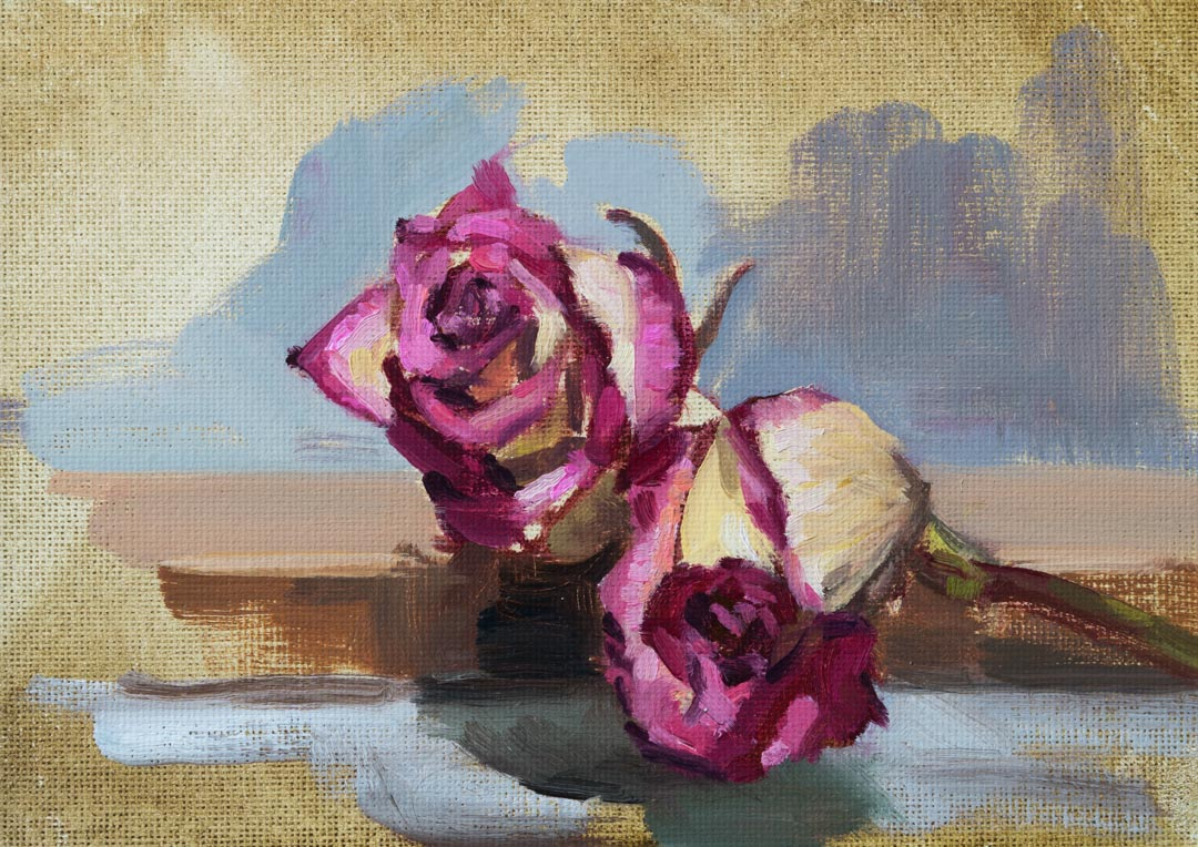 Roses On The Easel. Oil on canvas board, 5 x 7 inches, 2017. By Paul Hermann.