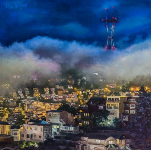 Twin Peaks With Fog At Night. Oil on Canvas, 24 x 24 inches, 2017. By Paul Hermann.