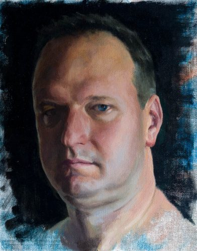 Self Portrait 2017. Oil on canvas, 10 x 8 inches, 2017. By Paul Hermann.