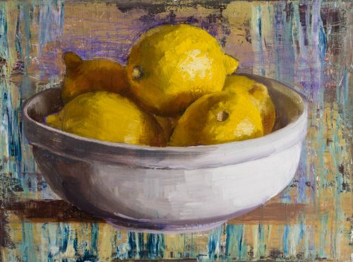 Bowl Of Lemons On Easel. Oil on canvas, 6 x 8 inches, 2018. By Paul Hermann.