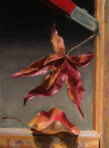 Leaves On the Easel. Oil on canvas, 8 x 6 inches, 2017. By Paul Hermann.