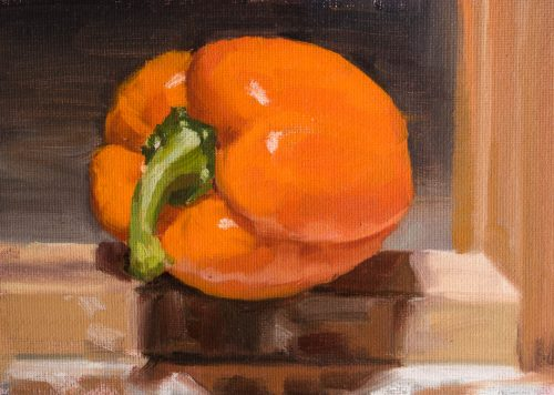 Orange Bell Pepper On Easel. Oil on canvas, 5 x 7 inches, 2017.