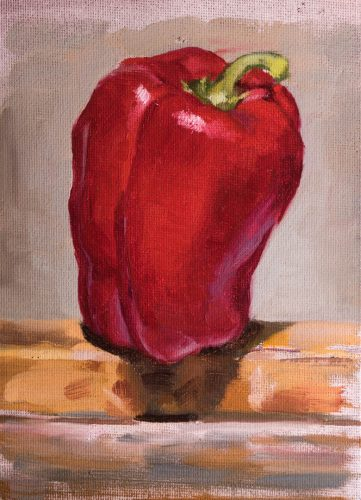 Red Bell Pepper On Easel. Oil on canvas, 7 x 5 inches, 2017.