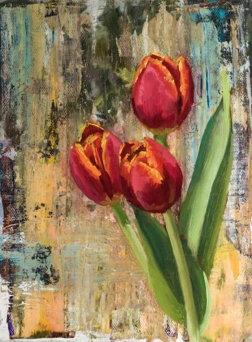 Red Tulips Against Abstract. Oil on canvas, 8 x 6 inches, 2018. By Paul Hermann.