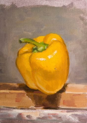 Yellow Bell Pepper On Easel. Oil on canvas, 7 x 5 inches, 2017.