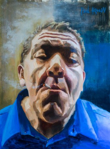 Joey Diaz, The Morning Joint. Oil on wood, 16x12 inches, 2018. By Paul Hermann.