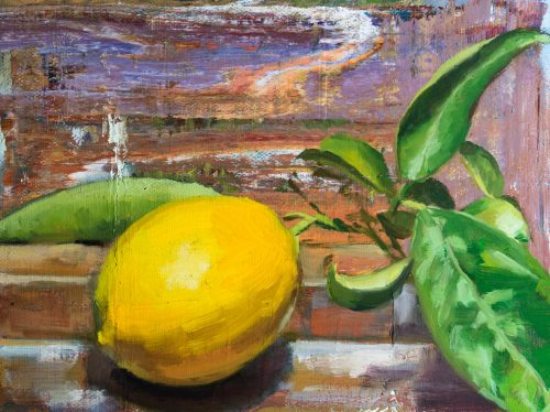 Lemon And Leaves. Oil on canvas, 6 x 8 inches, 2018.