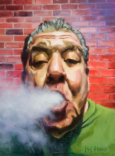 Joey Diaz, Pre Church. 20 x 16 inches, Oil on Wood, 2018. By Paul Hermann