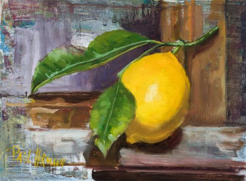 Lemon on Easel. 8 x 6 inches, oil on canvas, 2018. By Paul Hermann.