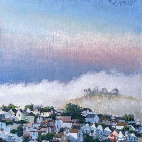 Dolores Heights With Bernal. 6 x 6 inches, oil on wood, 2018. By Paul Hermann.